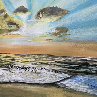Sunset scene by the beach by Nahid Aamina Sowkath, Impressionism Painting, Acrylic on Paper, Brown color