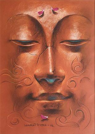 Yugpurush by Sanatan Dinda, Traditional Painting, Dry Pastel on Paper, Brown color