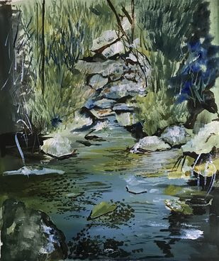 Amidst the forest by Nahid Aamina Sowkath, Impressionism Painting, Acrylic on Acrylic Sheet, Green color
