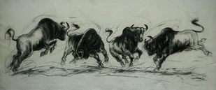 Bull Fight by Ananda Das, Illustration Drawing, Charcoal on Canvas, Beige color