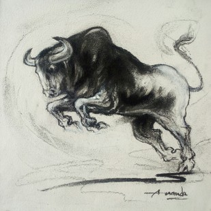Bull by Ananda Das, Illustration Drawing, Charcoal on Canvas, Gray color