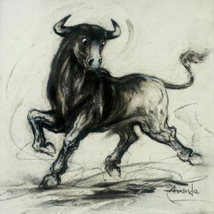 Bull by Ananda Das, Illustration Drawing, Charcoal on Canvas, Beige color
