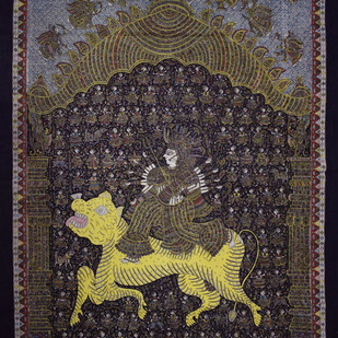 Mata-ni-Pachedi by Unknown Artist, Folk Painting, Vegetable Dye on Cotton, Brown color