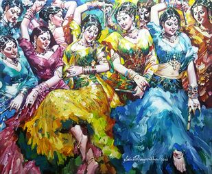 Dandia Raas by Subrata Gangopadhyay, Expressionism Painting, Acrylic on Canvas, Brown color
