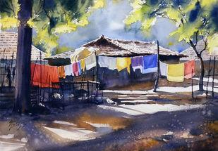 Wet cloths by Sunil Linus De, Impressionism Painting, Watercolor on Paper, Blue color