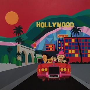 Hollywood by Farhad Hussain, Pop Art Painting, Acrylic on Canvas, Red color