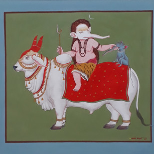 nandi and genesha by partha mondal, Expressionism Painting, Tempera on Paper, Green color