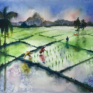 A day's work at paddy fields by Lasya Upadhyaya, Impressionism Painting, Watercolor on Paper, Green color