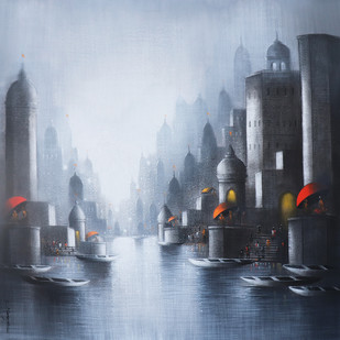 Holy Banaras by Somnath Bothe, Expressionism Painting, Mixed Media on Canvas, Cyan color