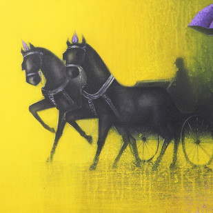 Rythmic Monsoon Ride by Somnath Bothe, Expressionism Painting, Mixed Media on Canvas, Yellow color