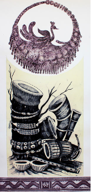 rich culture by kusum pandey, Expressionism Printmaking, Drypoint on Paper, Gray color