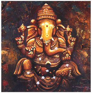 Ganapathy by C Mullai Rajan, Realism Painting, Acrylic on Canvas, Brown color