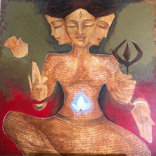 Shakti by Poorvee Mathur, Expressionism Painting, Acrylic on Canvas, Brown color