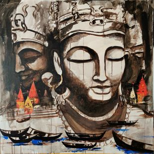 Vishwanath by Poorvee Mathur, Expressionism Painting, Acrylic on Canvas, Brown color