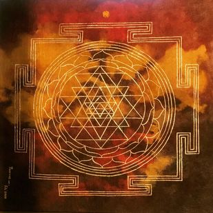 Yantra by Poorvee Mathur, Geometrical Painting, Acrylic on Canvas, Brown color