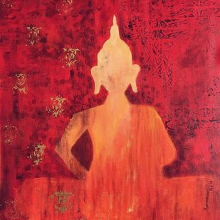 Buddha by Poorvee Mathur, Decorative Painting, Acrylic on Canvas, Red color