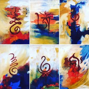 Symbols of life and faith by Poorvee Mathur, Decorative Painting, Acrylic on Canvas, Beige color