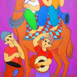 Camel safari by Dnyaneshwar Bembade, Expressionism Painting, Acrylic on Canvas, Purple color