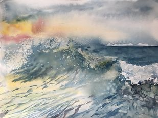 The tempest by Nahid Aamina Sowkath, Impressionism Painting, Watercolor on Paper, Gray color