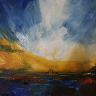Abstract Landscape acrylic by Rajesh Sunkara , Abstract Painting, Acrylic on Paper, Blue color