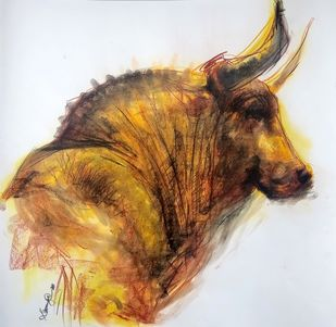 BULL 51 by Saumya Bandyopadhyay, Expressionism Painting, Dry Pastel on Paper, Brown color