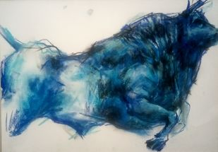 BULL 59 by Saumya Bandyopadhyay, Illustration Painting, Pastel on Paper, Blue color