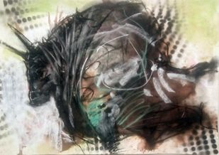 BULL 60 by Saumya Bandyopadhyay, Expressionism Painting, Pastel on Paper, Gray color