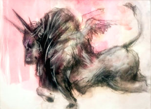 BULL 50 by Saumya Bandyopadhyay, Illustration Painting, Pastel on Paper, Pink color