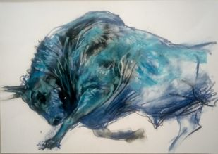 BULL 55 by Saumya Bandyopadhyay, Impressionism Painting, Pastel on Paper, Gray color