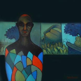 Where I am by Ram Kumar Maheshwari, Expressionism Painting, Acrylic on Canvas, Blue color