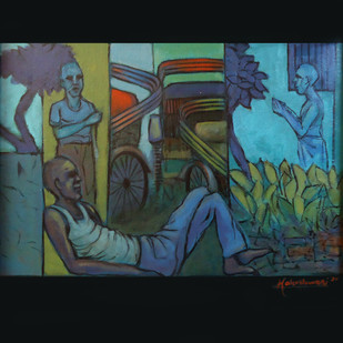 REST by Ram Kumar Maheshwari, Expressionism Painting, Acrylic on Canvas, Green color