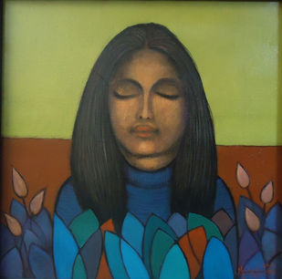 Girl with nature by Ram Kumar Maheshwari, Expressionism Painting, Acrylic on Canvas, Green color