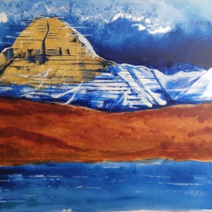 Kailash hill Landscape by Rajesh Sunkara , Abstract Painting, Acrylic on Canvas, Blue color