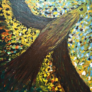 RISING by PRITI HINGORANI, Expressionism Painting, Acrylic on Canvas, Brown color