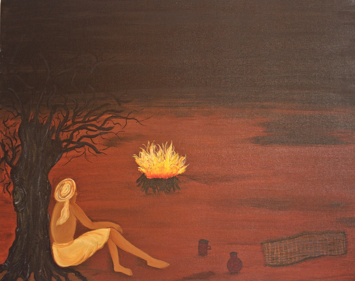 longing to burn by PRITI HINGORANI, Expressionism Painting, Acrylic on Canvas, Brown color