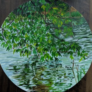 reflections by Sahithi Paleti, Expressionism Painting, Oil on Canvas Board, Green color