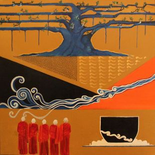 The Enlightened Path by Pratap SJB Rana, Traditional Painting, Mixed Media on Canvas, Brown color
