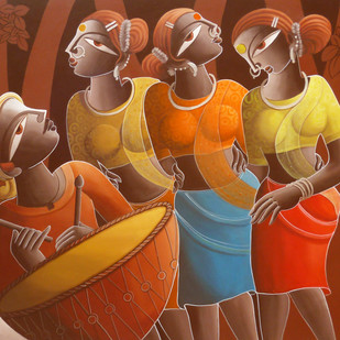 Santhali Dancer by Dhananjay Mukherjee, Expressionism Painting, Acrylic on Canvas, Brown color