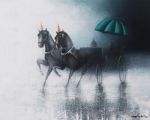 Rythmic Monsoon Ride by Somnath Bothe, Expressionism Painting, Charcoal on Canvas, Gray color