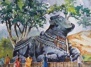 Explore India : Karnataka by Mopasang Valath, Impressionism Painting, Watercolor on Paper, Green color