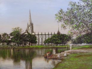 St. Paul's Cathedral , Kolkata by sunit bagh, Realism Painting, Oil on Linen, Brown color