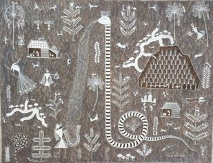 Untitled by Amit Mahadev Dombhare, Folk Painting, Cow dung on Cloth, Gray color