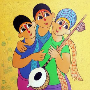 MUSICAL ENVOIRMENT by Dnyaneshwar Bembade, Expressionism Painting, Acrylic on Canvas, Beige color