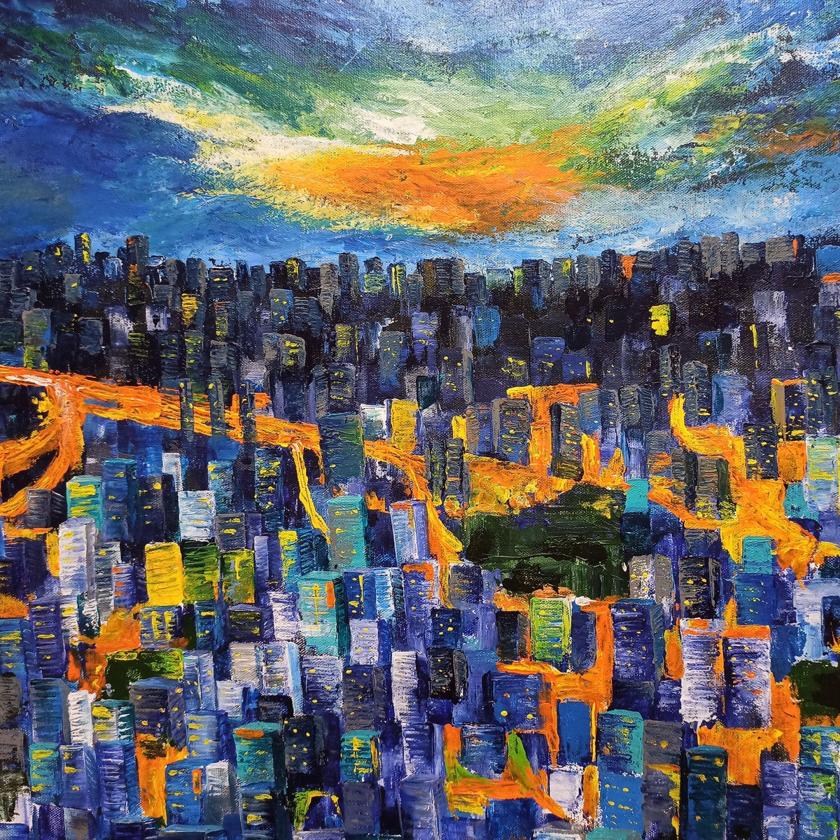 City Night - Hope by Herendra Swarup , Expressionism Painting, Acrylic on Canvas, Blue color