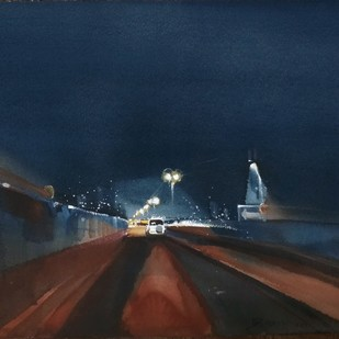 Need for speed by Prashant Prabhu, Impressionism Painting, Watercolor on Paper, Blue color