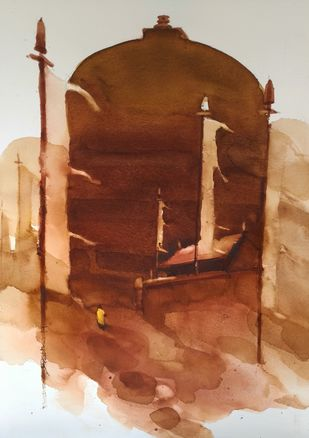 On the way of the Buddha by Prashant Prabhu, Impressionism Painting, Watercolor on Paper, Brown color