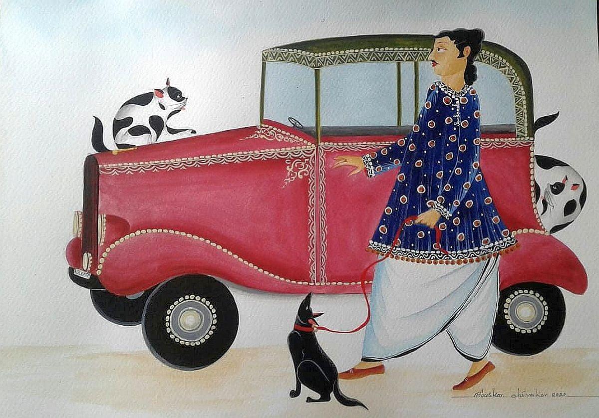 Babu and his Vintage Car by Bhaskar Chitrakar, Folk Painting, Natural colours on paper, Gray color