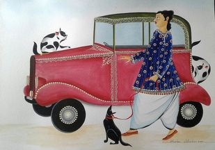 Babu and his Vintage Car by Bhaskar Chitrakar, Folk Painting, Natural colours on paper, Gray color