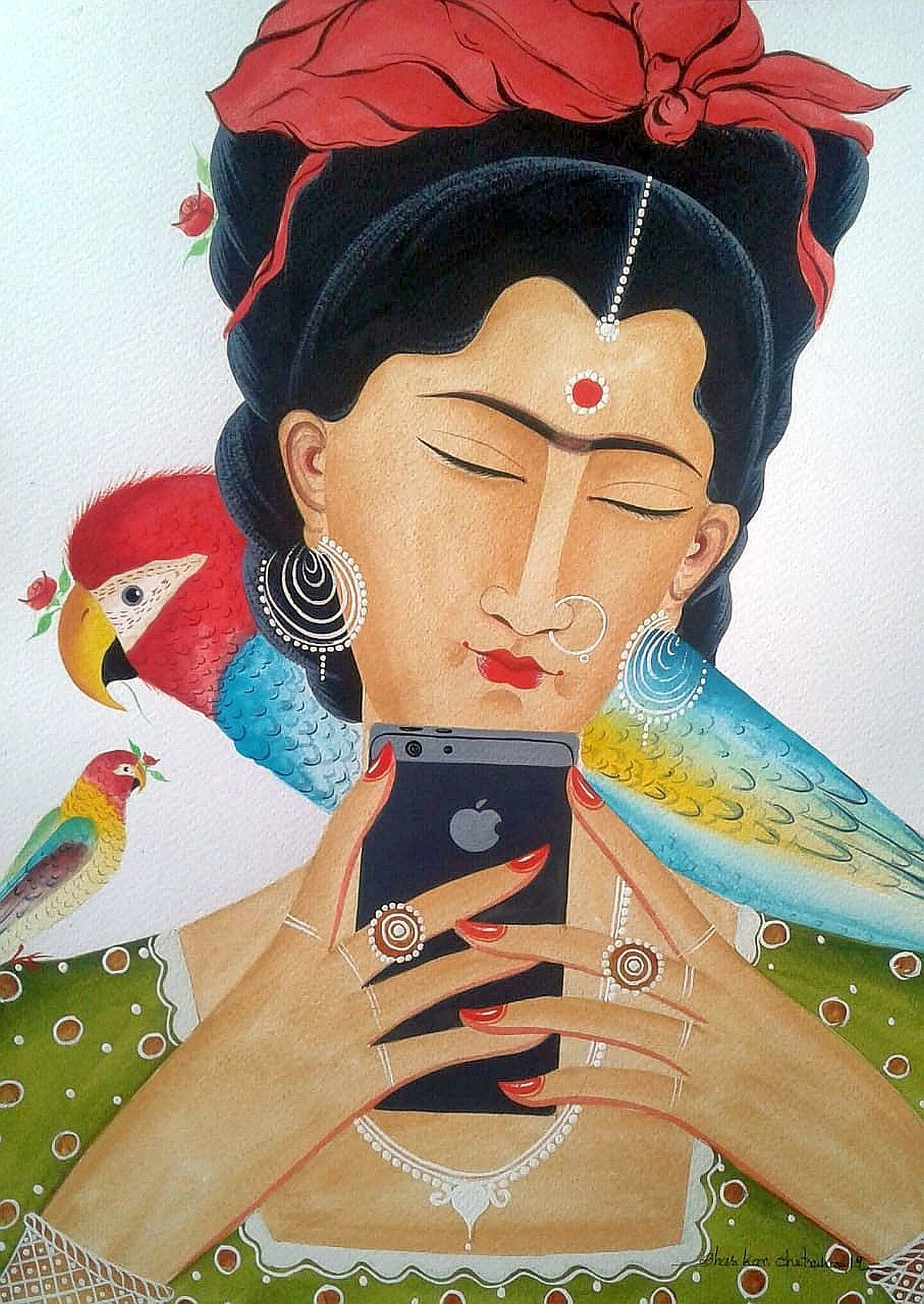 Kali-Kahlo : selfie with parrots by Bhaskar Chitrakar, Folk Painting, Natural colours on paper, Brown color