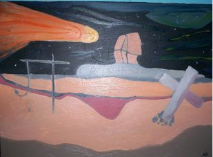 The second coming by Srinivasan R, Expressionism Painting, Oil on Canvas Board, Brown color